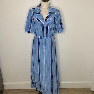 Tucker NYC striped shirt Dress SZ M silk blue